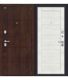 Дверь входная металлическая Оптим Сканди П-37 Graphite Wood / Cappuccino Softwood