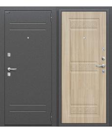 Дверь входная металлическая Оптим Трио Антик Серебро / П-34 Шимо Светлый