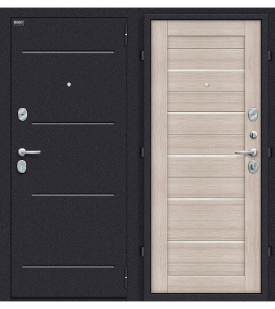 Дверь входная металлическая Оптим Техно Лунный камень / Cappuccino Veralinga