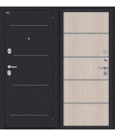 Дверь входная металлическая Оптим Лайн Лунный камень / Cappuccino Crosscut