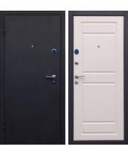 Дверь металлическая Афина черный шелк/беленый дуб