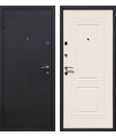 Дверь металлическая Ампир черный шелк/беленый дуб