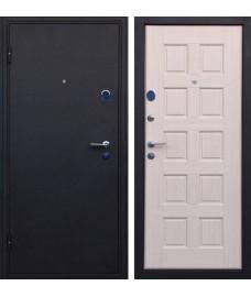 Дверь металлическая ТРОЯ черный шелк/беленый дуб