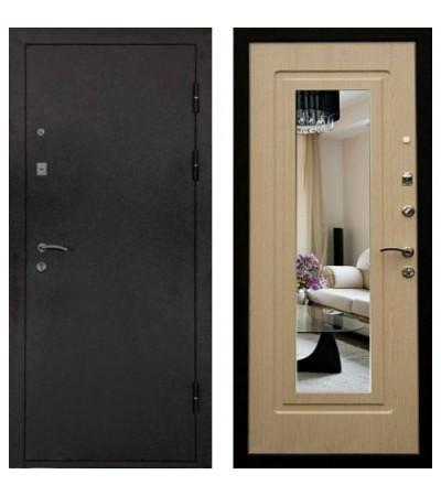 Дверь металлическая Престиж Белый дуб с зеркалом