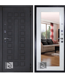 дверь металлическая райтвер сенатор лайф зеркало беленый дуб (белая панель)