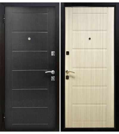 Дверь металлическая Сити 2 Венге кофе/Эш Вайт