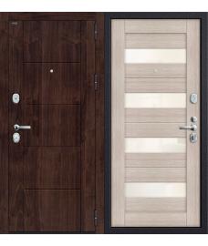 Дверь входная металлическая Groff Т2-223 Антик Серебро / Cappuccino Veralinga